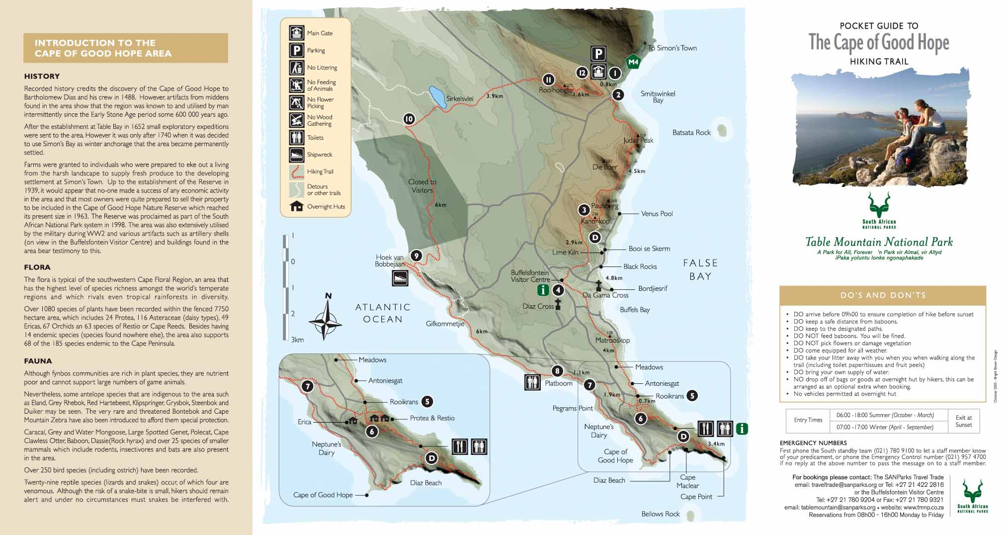 Capo di Buona Speranza - Mappa del Trekking - Table Mountain National Park