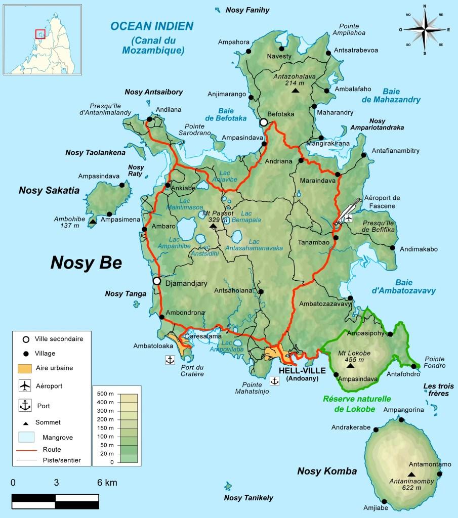 Mappa di Nosy Be - Cosa Vedere a Nosy Be