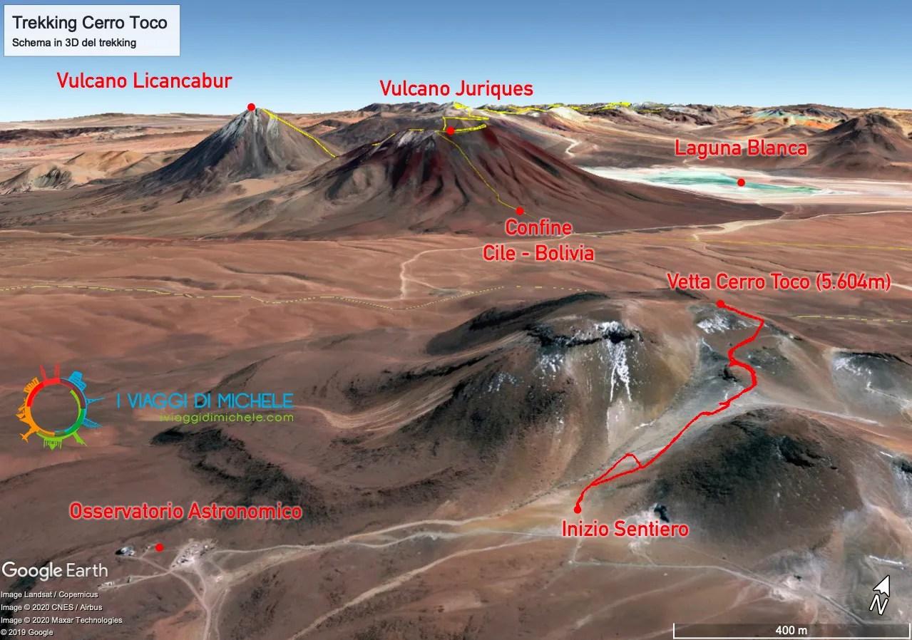 Mappa Trekking Cerro Toco
