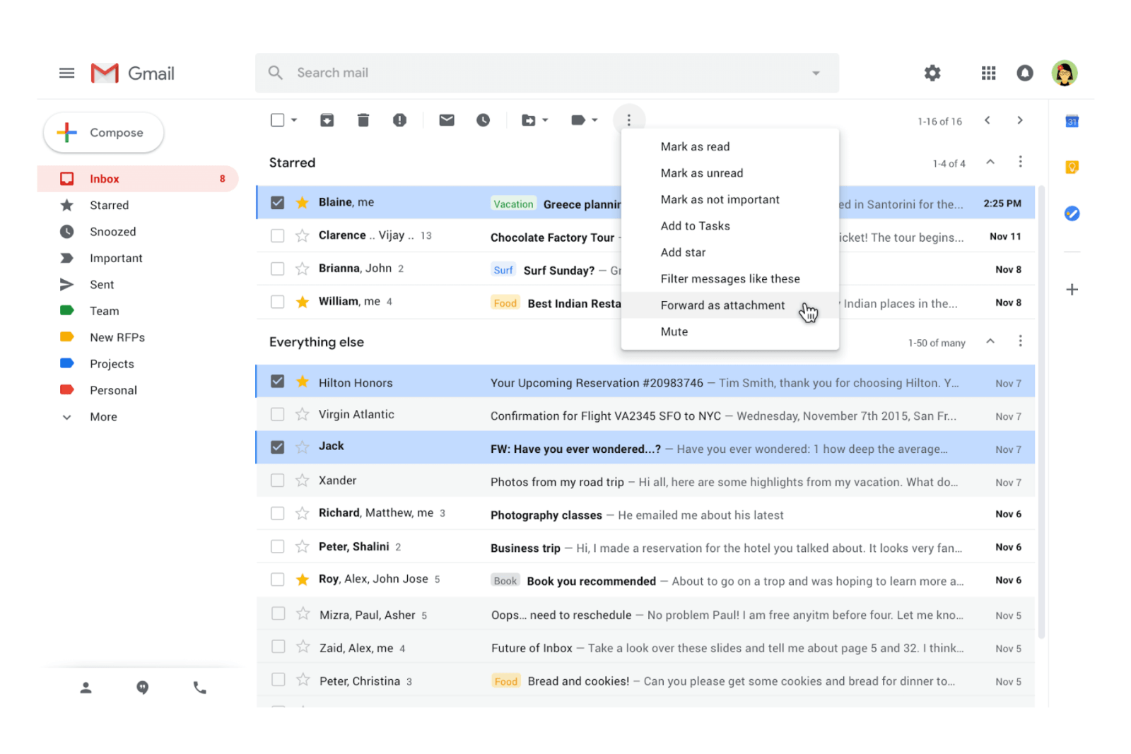 Gmail lets you send emails as an attachments