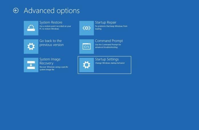 Windows Advanced Startup Option