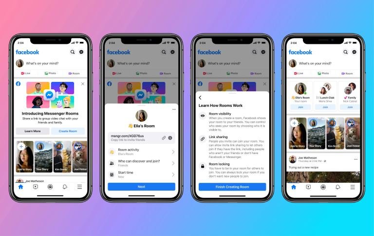 Messenger Rooms in Facebook News Feed