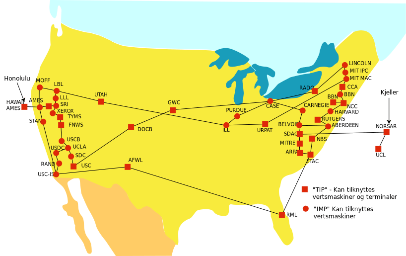 ARPANET network map 1974