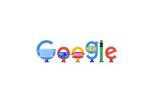 Google Doodle Wearing Masks and Keeping Social Distancing
