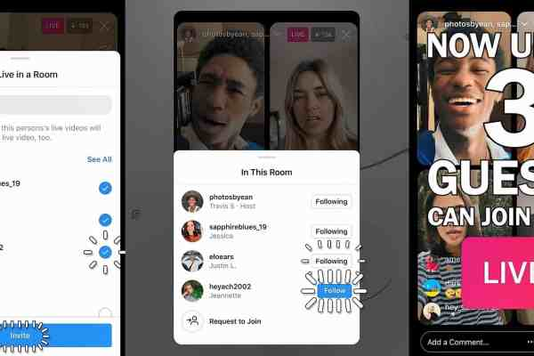 Instagram users now go live with up to three people with Instagram Live Rooms