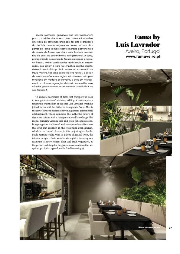 Revista Attitude Magazine 89 Restaurante Fama Aveiro Arquitectura Paulo Martins 2 do fotografo Ivo Tavares Studio