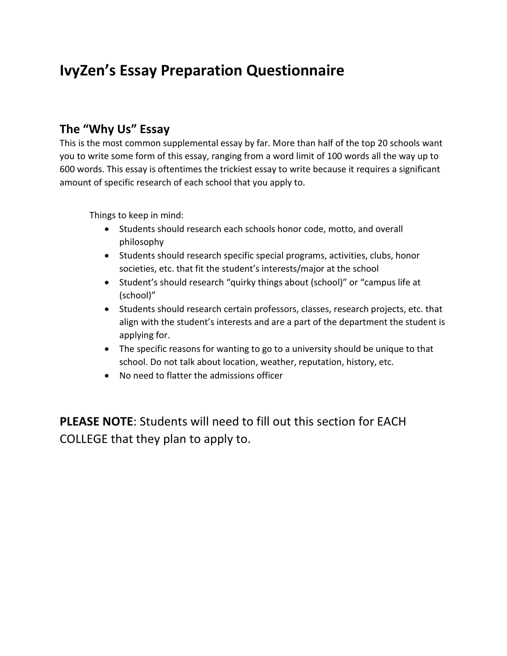 Admissions Essay Organizer  Ivyzen Admissions Essay Organizer