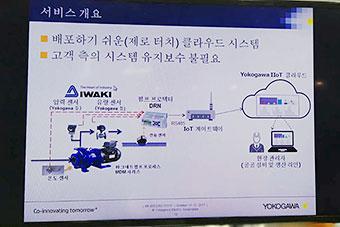 横河電機株式会社様のブース 大型モニターで遠隔監視のシステムイメージを表示