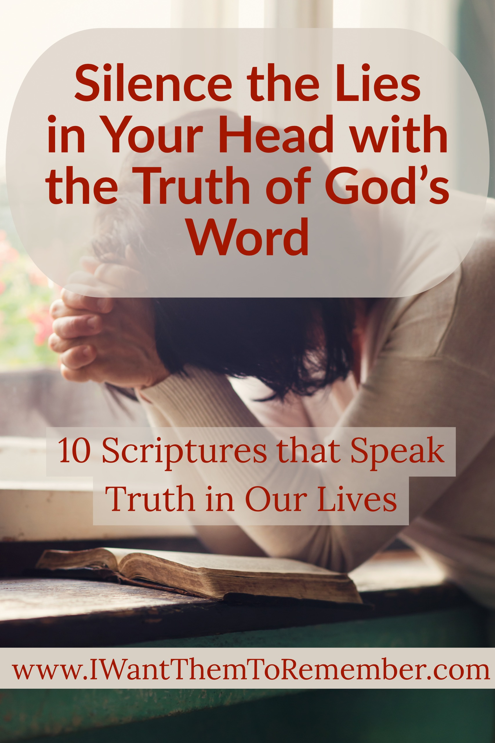 Lies. So many times the voice in our head does not tell the truth. Instead, the negative words we repeat in our mind over and over that continue to bring us down come straight from the father of lies. Instead of repeating the lies to ourselves, we must rely on the truth of God's Word.