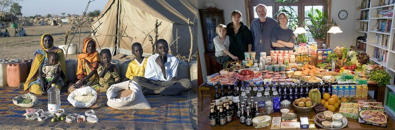 families from different countries and the food that they consumes for a week time