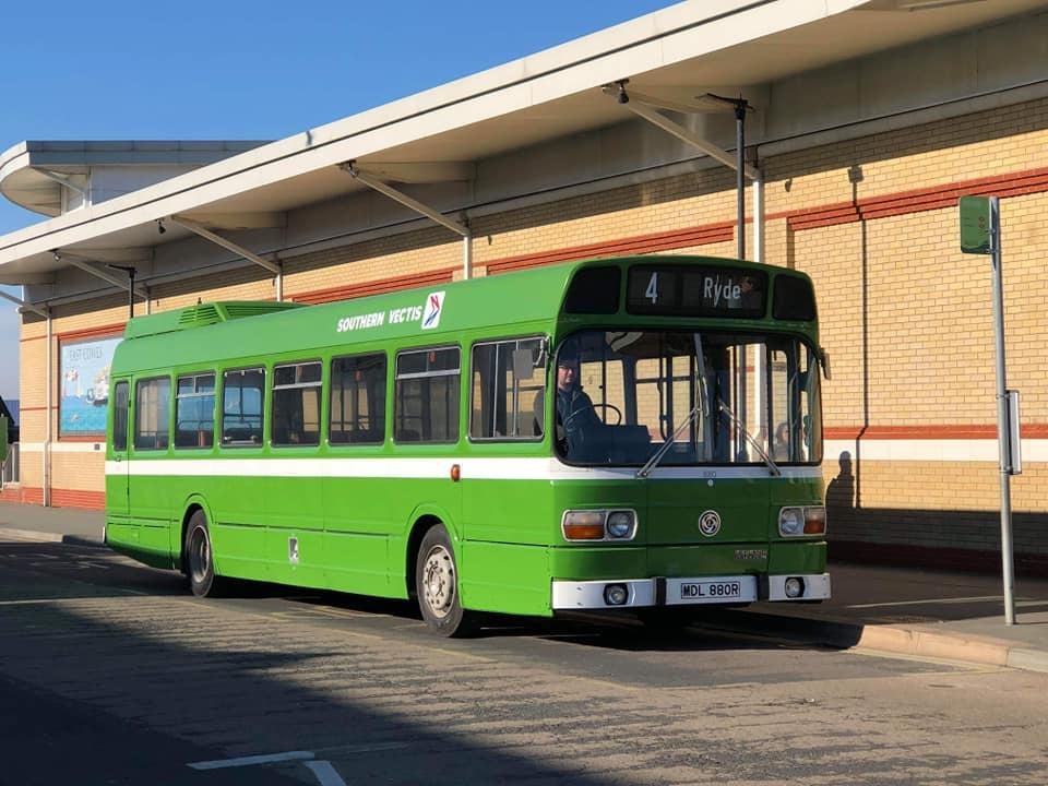 leyland national 880 returns to isle of wight outside waitrose