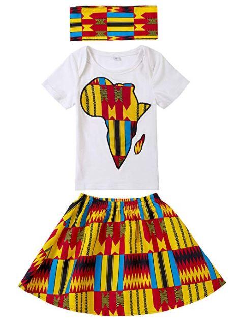 20584db82918e Baby Girl African Print Clothing Ankara Skirt Top Set - I Wear ...