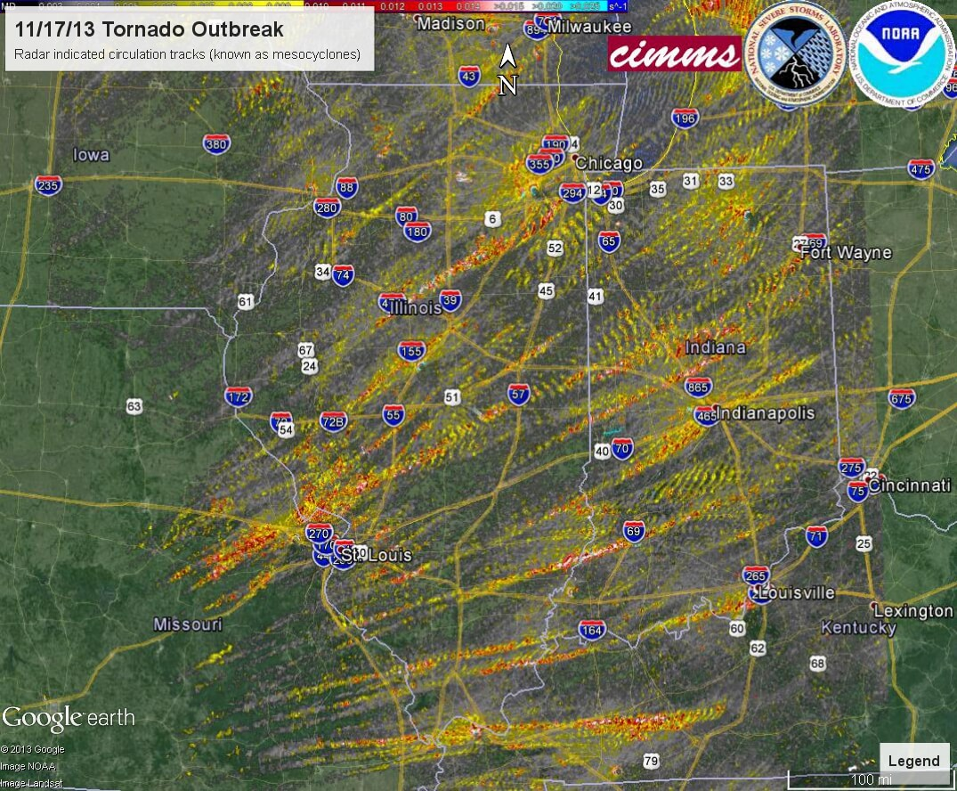 Map Of Tornadoes Nov 2013