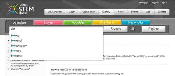National STEM Centre advanced site search