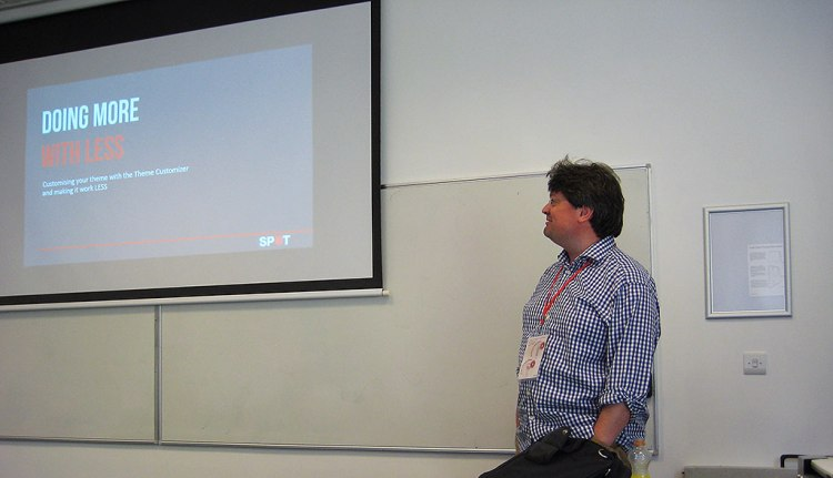 """John Cotton presenting his """"Doing more with Less"""" talk at WordCamp Lancaster UK 2013"""