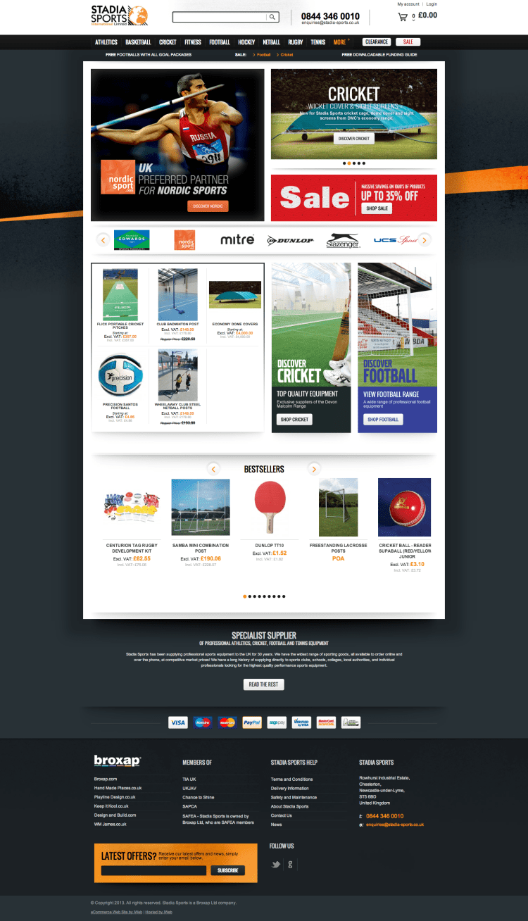 Stadia Sports home page from Stadia Sports - UK Sports Supplier