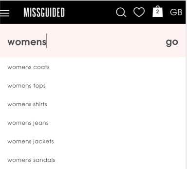 Missguided Site Search | Principles of Mobile Web Design
