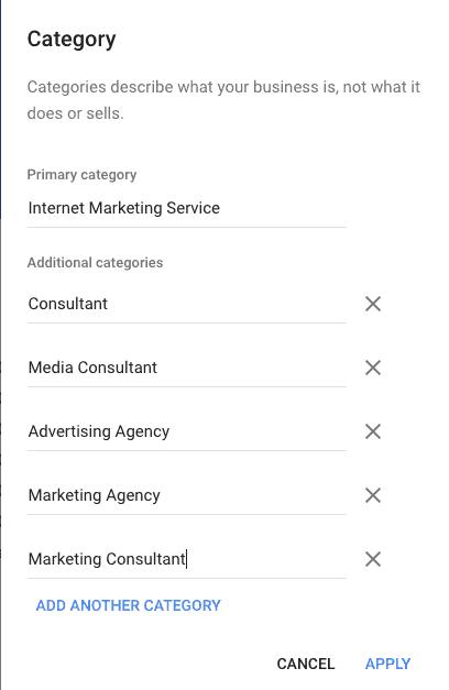 Categories | Google My Business Advantages