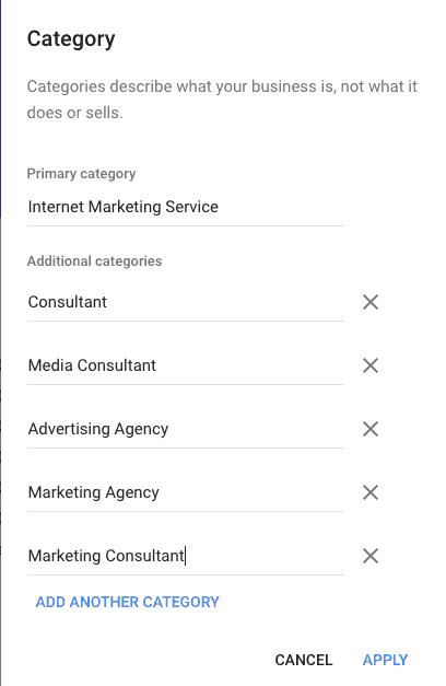 Categories | Google My Business Advantages