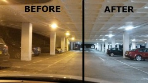 car park lighting BEFORE AND AFTER