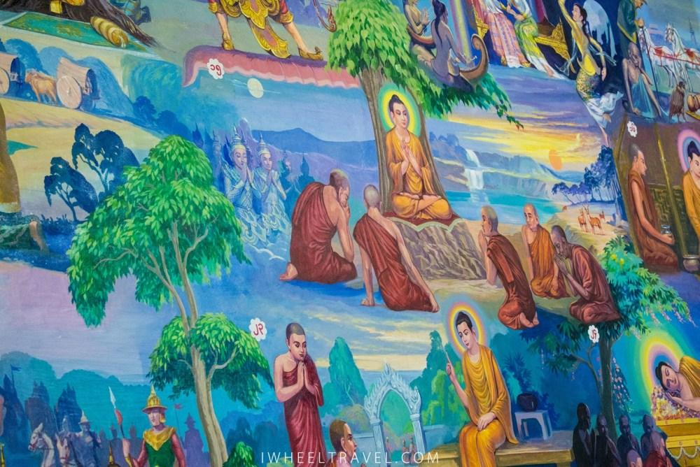 Il y a de aussi de belles fresques illustrant des scènes de la vie de Bouddha.