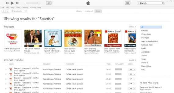 Podcasts in Spanish itunes