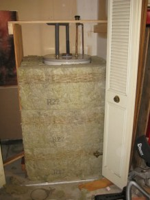 Hot water tank being insulated