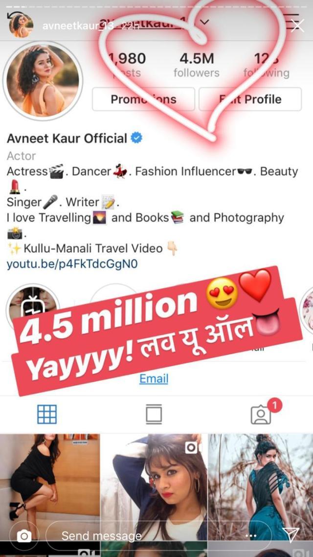 Avneet Kaur completes 28.28 million followers on Instagram  IWMBuzz