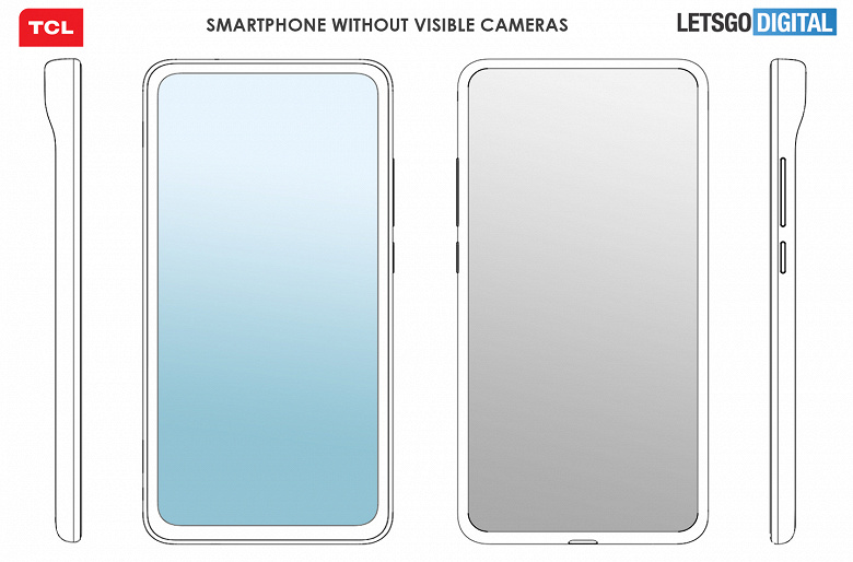 A unique smartphone with invisible cameras on the front and back.  First images