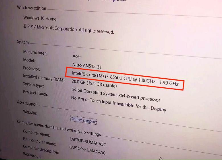 Это первый случай, когда в готовом компьютере замечен процессор Intel Core восьмого поколения