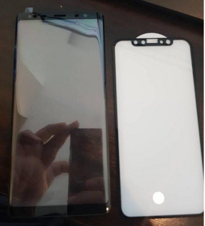Лицевые панели Samsung Galaxy Note 8 и iPhone 8 впервые запечатлены на одной фотографии