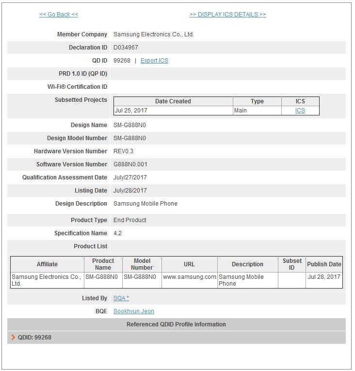 Устройство носит индекс SM-G888N0