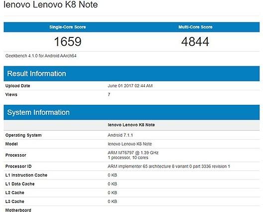 Смартфон Lenovo K8 Note оснащен SoC Helio X20 и 4 ГБ ОЗУ