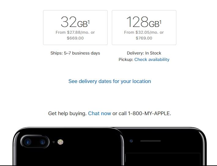iPhone 7 с 256 ГБ памяти больше нельзя купить на сайте Apple