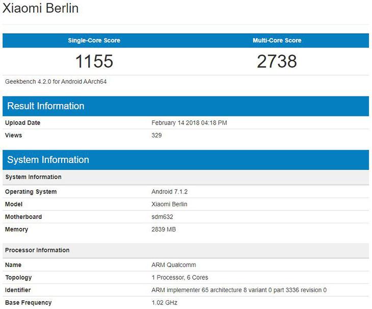 Xiaomi Berlin протестирован в бенчмарке Geekbench