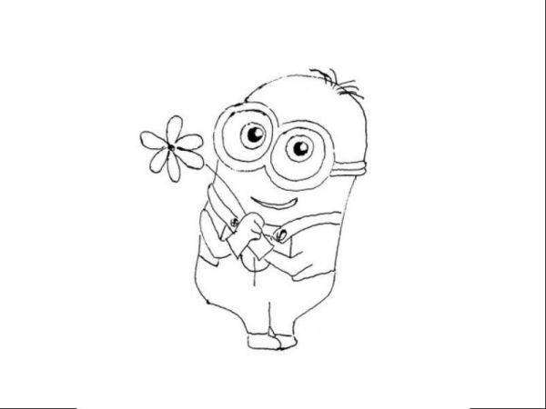 Раскраска миньон с цветочком | раскраски Миньоны
