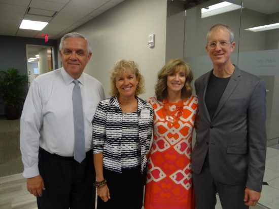 Harry Barley, Executive Director for MetroPlan Orlando; Lisa Portelli, Winter Park Health Foundation Program Director and BWCF Board Member; and Jill Hamilton Buss, Executive Director, Healthy Central Florida; with walkability author/speaker Jeff Speck