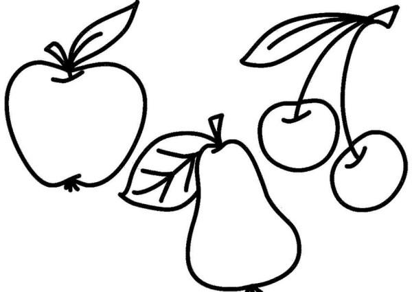 Раскраски фрукты. Бесплатные картинки для детей.
