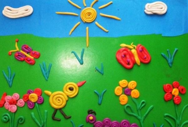 Аппликации из пластилина на бумаге Поделки для дошкольников