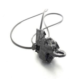 Black Beautiful Necklace in epoxy resin, quartz and silicon, handmade jewelry.