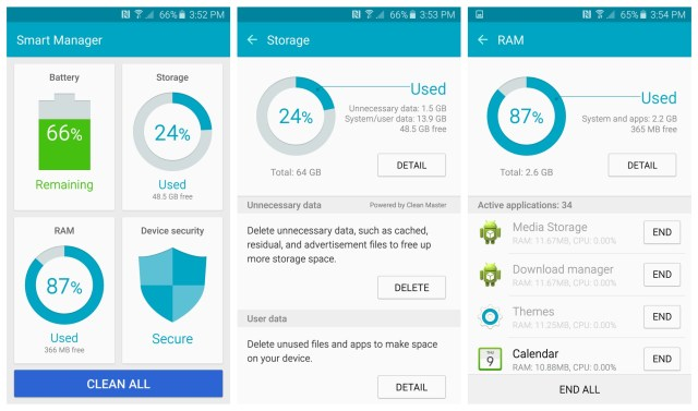 Using Samsung Smart Manager to free up storage on the Galaxy S7 phone
