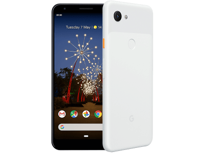 Google Pixel 3a White with Laptop