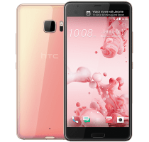 HTC U Ultra Pink with Laptop