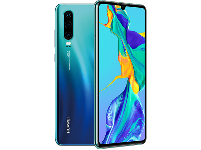 Huawei P30 128GB Aurora with iPad and Tablet