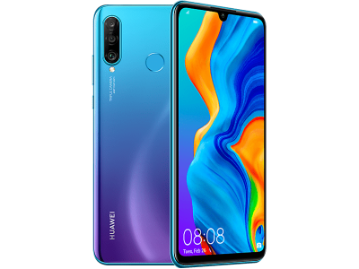 Huawei P30 Lite Blue with iPad and Tablet