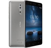 Nokia 8 Silver with Laptop