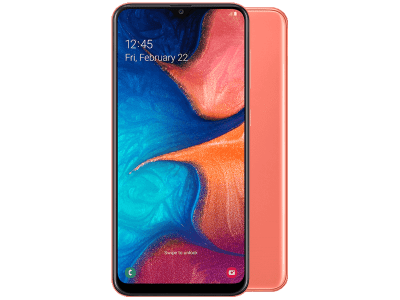 Samsung Galaxy A20e Coral with Sony SRS-XB2 Speaker