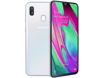 Samsung Galaxy A40 White with iPad and Tablet