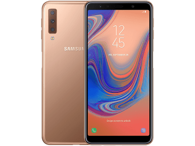 Samsung Galaxy A7 Gold with iPad and Tablet