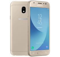 Samsung Galaxy J3 2017 Gold with Laptop
